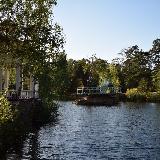 Беседка и свадебный остров на пруду в парке Гагарина