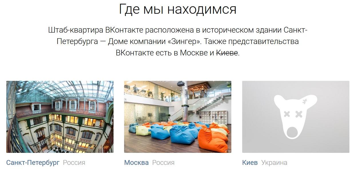 Представительства ВКонтакте